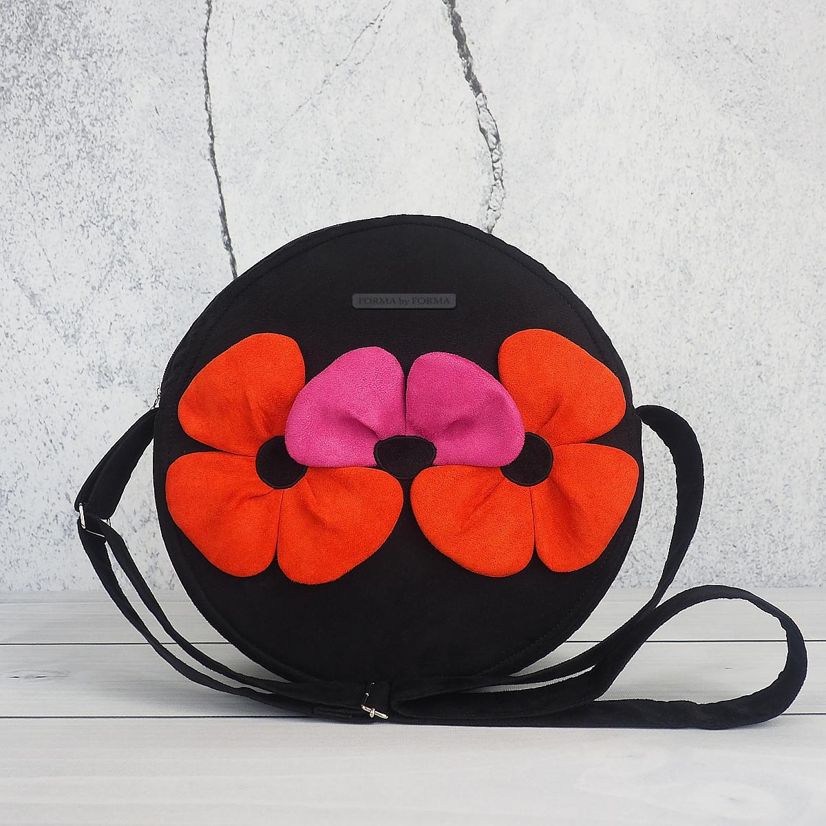 a6c8877c98f23 Torebka okrągła czarna - Trzy kwiaty - Sklep z torebkami autorskimi